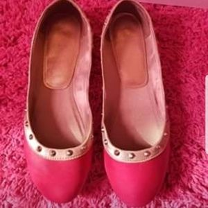 Pink & Tan Flats with studs